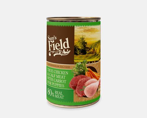 Πληρης τροφη σε υγρη μορφη-Κοτόπουλο & Μοσχαράκι για κουτάβια.